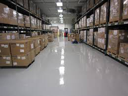 epoxy floor covering commercial warehouse